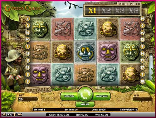 Gonzo's Quest from NetEntertainment features 5 reels with 20 paylines.