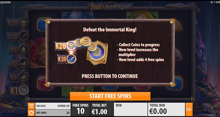 Ivan and the Immortal King Slot Bonus Game